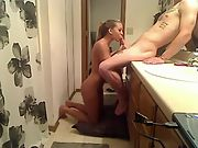 Pummeling molten blonde girlfriend in the bathroom