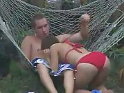 Sexy coed bitch gets fucked in backyard by insane fratboy voyeur porn